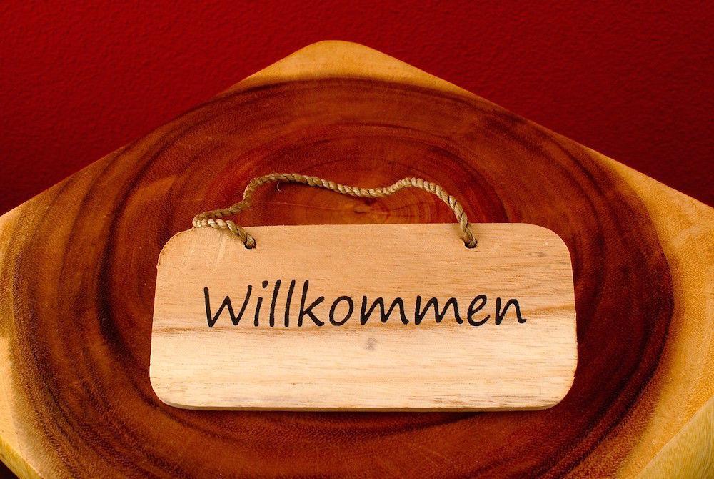 Willkommen Begrussungsschild Aus Holz Braun Peters Wohnsachen